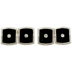 Antique Onyx Diamond Gold Platinum Set Cufflinks