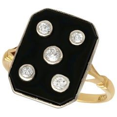 Antique Onyx Diamond Yellow Gold Cocktail Ring