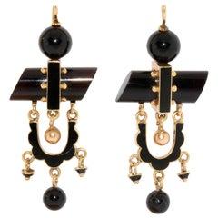 Antique, Onyx Gold Stud Earrings with Black Enamel