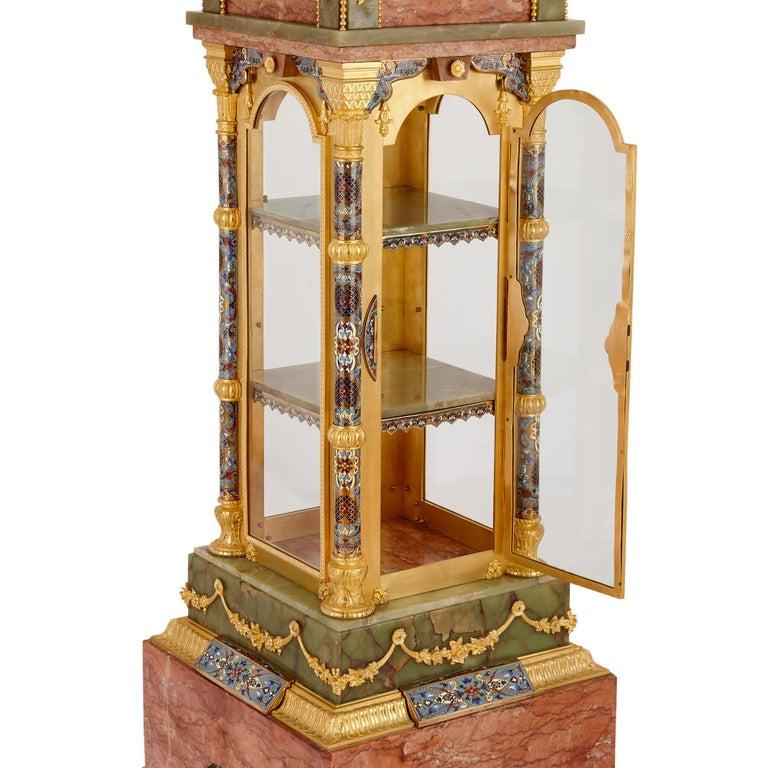 Islamic Antique Onyx, Marble, Gilt Bronze and Cloisonné Enamel Longcase Clock For Sale