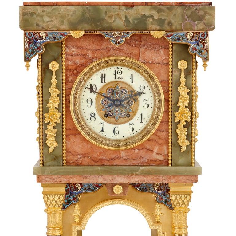 French Antique Onyx, Marble, Gilt Bronze and Cloisonné Enamel Longcase Clock For Sale