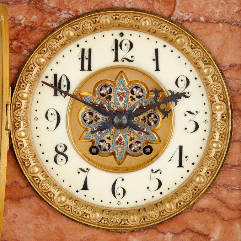 Cloissoné Antique Onyx, Marble, Gilt Bronze and Cloisonné Enamel Longcase Clock For Sale