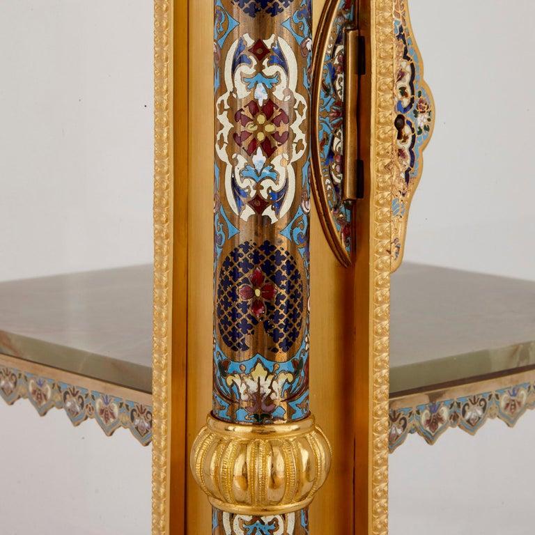 Antique Onyx, Marble, Gilt Bronze and Cloisonné Enamel Longcase Clock For Sale 1