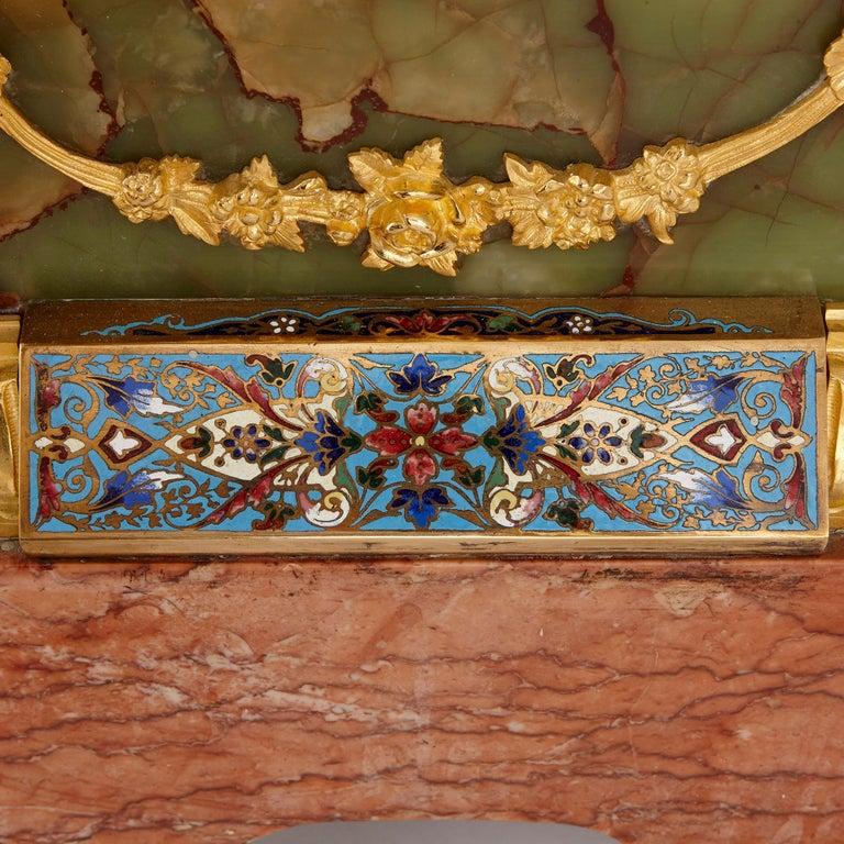 Antique Onyx, Marble, Gilt Bronze and Cloisonné Enamel Longcase Clock For Sale 2