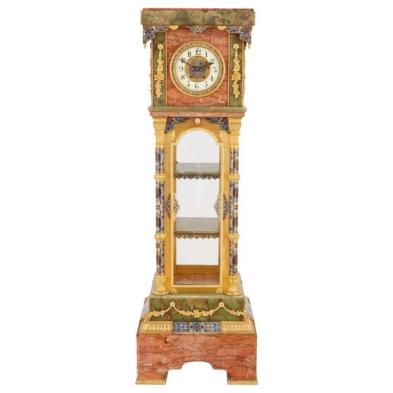 Antique Onyx, Marble, Gilt Bronze and Cloisonné Enamel Longcase Clock For Sale
