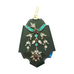 Antique  Onyx, Semi Precious Stone & 12K Gold Mourning Locket Necklace Pendant