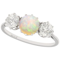 Antique Opal and 1.08 Carat Diamond Gold Trilogy Ring Circa1920