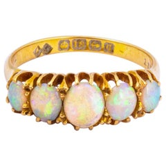 Antique Opal and 18 Carat Gold Five-Stone Ring