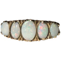 Antique Opal and 9 Carat Gold Five-Stone Ring