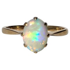 Antique Opal and 9 Carat Gold Solitaire Ring