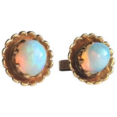 Antique Opal and 9 Carat Gold Stud Earrings