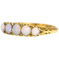 Antique Opal and Diamond 18 Carat Gold Five-Stone Ring