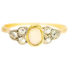 Antique Opal and Diamond 18 Carat Gold Ring