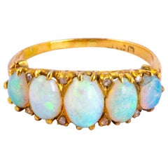Antique Opal and Diamond 18 Carat Yellow Gold