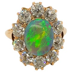 Antique Opal and Diamond 18 Karat Gold Dress Ring