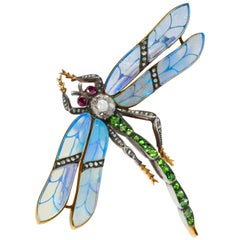 Antique Diamond and Gem Set Dragonfly Brooch with Opal Wings
