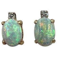 Antique Opal Diamond Earrings 14 Karat Gold