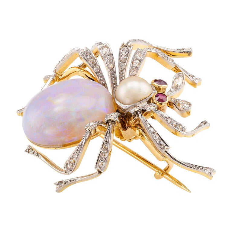 Victorian Antique Opal Diamond Ruby Pearl Gold Platinum Spider Brooch For Sale