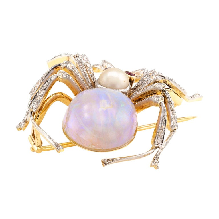 Antique Opal Diamond Ruby Pearl Gold Platinum Spider Brooch In Good Condition For Sale In Los Angeles, CA