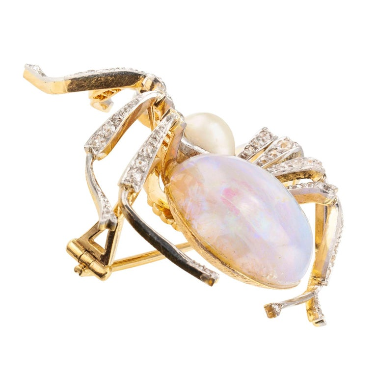 Women's or Men's Antique Opal Diamond Ruby Pearl Gold Platinum Spider Brooch For Sale
