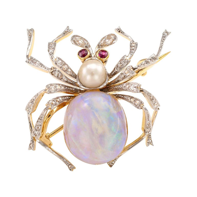 Antique Opal Diamond Ruby Pearl Gold Platinum Spider Brooch For Sale
