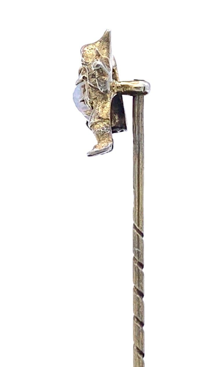 Cabochon Antique Opal Silver Stickpin Tiepin of a Gnome For Sale