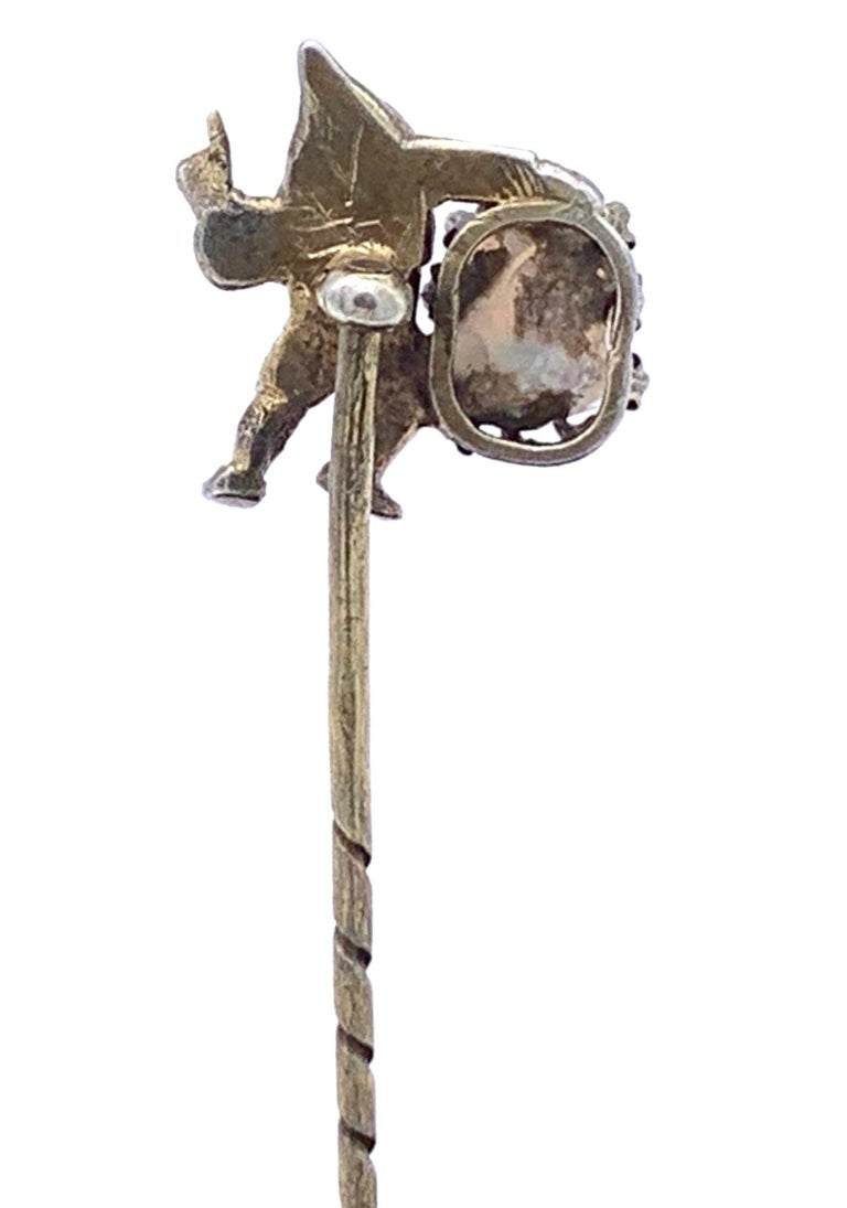 Antique Opal Silver Stickpin Tiepin of a Gnome In Good Condition For Sale In Munich, Bavaria
