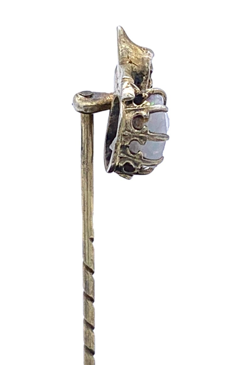 Men's Antique Opal Silver Stickpin Tiepin of a Gnome For Sale