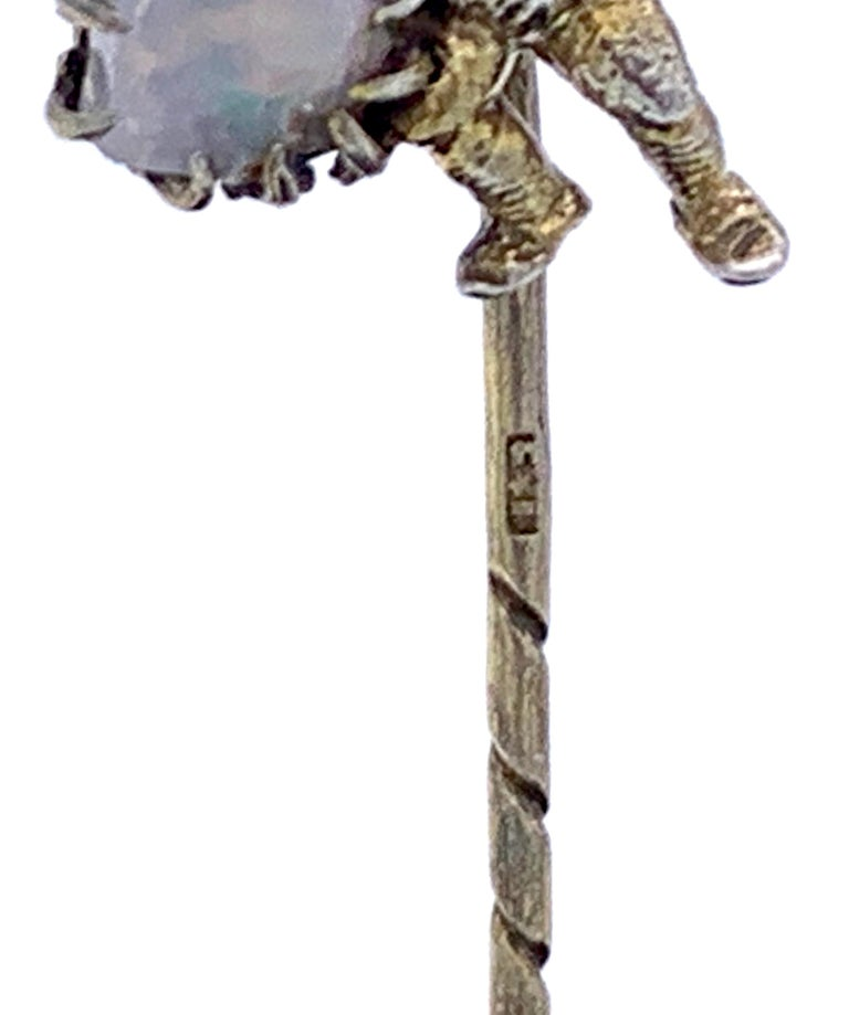 Antique Opal Silver Stickpin Tiepin of a Gnome For Sale 2
