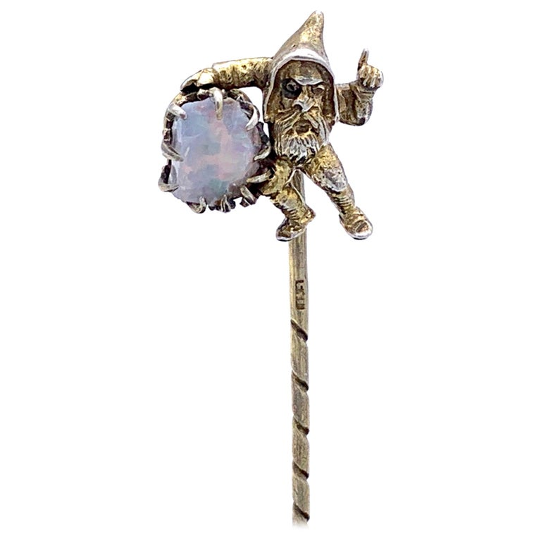 Antique Opal Silver Stickpin Tiepin of a Gnome For Sale