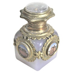 Antique Opalescent Perfume Bottle with Brass Mounts and Painted Medallions