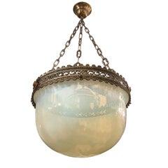 Antique Opaline Glass Pendant Light Fixture