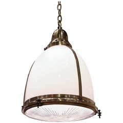 Antique Opaline Pendant Light with Clear Etched Glass and Capped with Brass