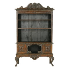 "Antique Open Bookcase, Carved Oak, Victorian, ""Green Man"", Scotland 1880, B1776"