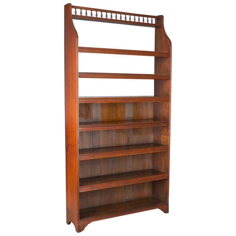 Antique Open Bookcase, Tall, English, Walnut, Book Shelves, Edwardian For Sale