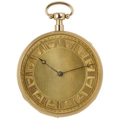 Antique Open Face Musical Quarter Repeater 18 Karat Yellow Gold Pocket Watch