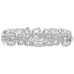 Antique Open-Work 14.30 Carat Diamond Platinum Art Deco Bracelet