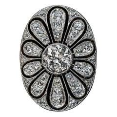Antique Openwork Diamond Platinum Gold Ring