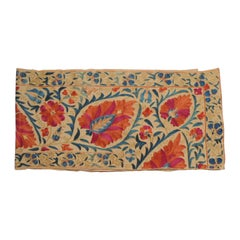 Antique Orange and Blue Long Suzani Table Runner