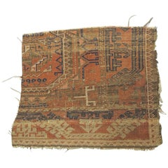 Antique Orange and Blue Persian Rug Fragment
