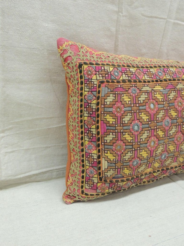 Antique orange and yellow Indian decorative Bolster pillow. One of the kind woven and embroidered textile with sequins insets and orange linen backing. Decorative pillow handcrafted and designed in the USA.  Closure by stitch (no zipper closure)