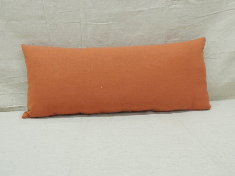 Moorish Antique Orange and Yellow Indian Decorative Bolster Pillow For Sale