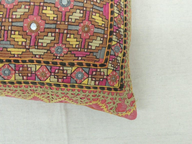 Hand-Crafted Antique Orange and Yellow Indian Decorative Bolster Pillow For Sale