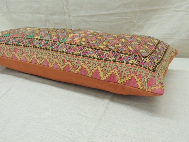 Antique Orange and Yellow Indian Decorative Bolster Pillow In Good Condition For Sale In Oakland Park, FL