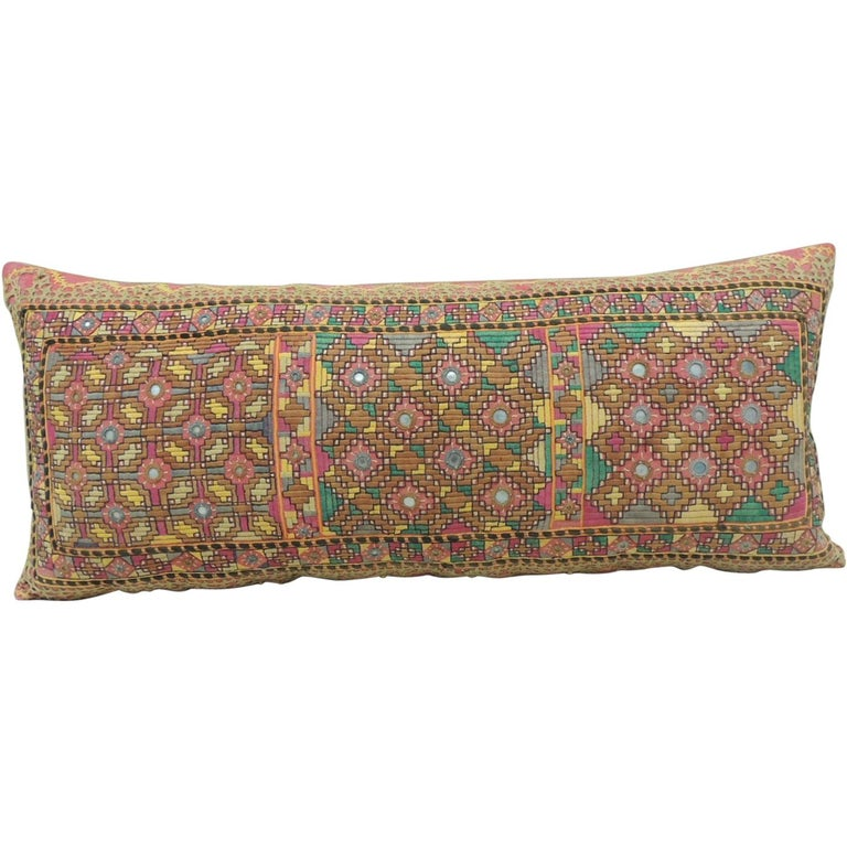 Antique Orange and Yellow Indian Decorative Bolster Pillow For Sale