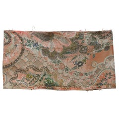 Antique Orange Woven Damask Textile with Floral Motifs