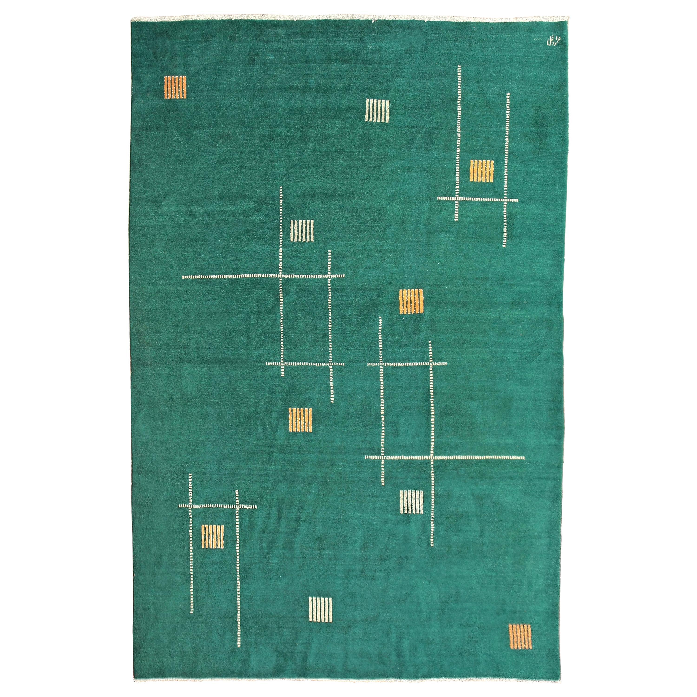 Antique Oriental Blue-Green Geometric Art Deco Rug