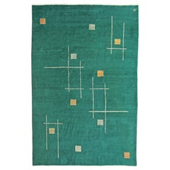 Antique Oriental Blue-Green Geometric Art Deco Rug