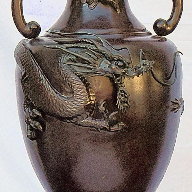 Chinese Chippendale Antique Oriental Chinese Dragon Bronze Altar Archaistic Vase For Sale