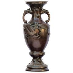 Antique Oriental Chinese Dragon Bronze Altar Archaistic Vase